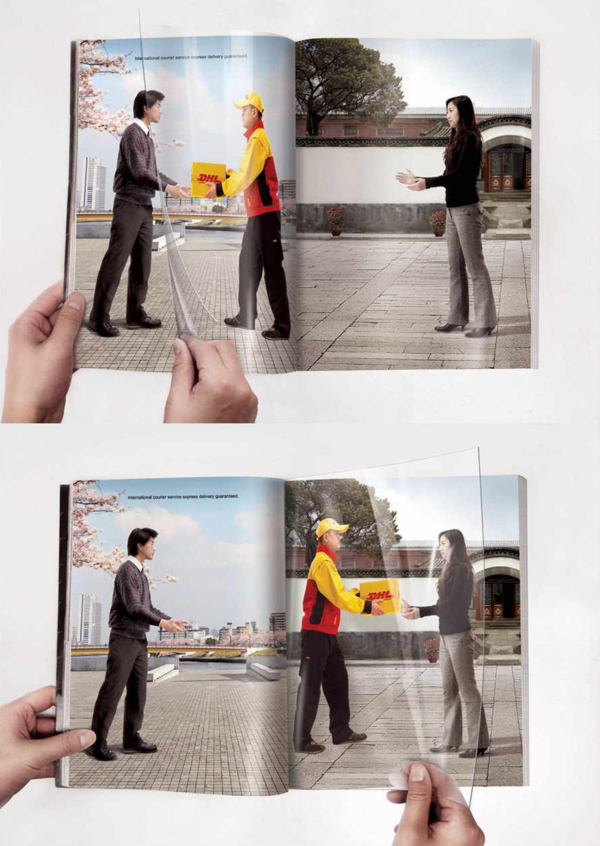 DHL's awesome page-turning print ad