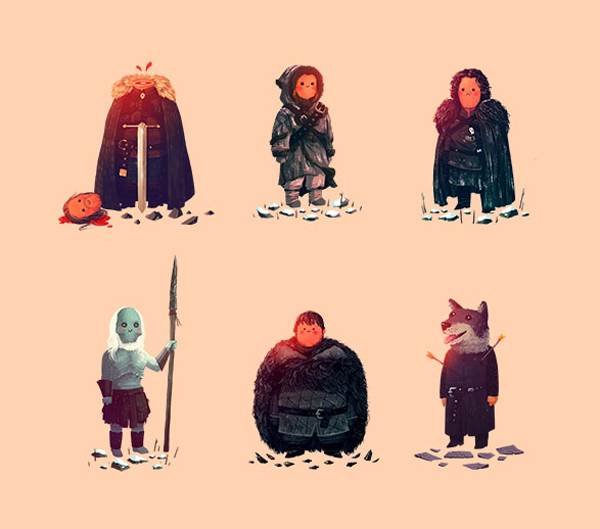 Cute Game of Thrones illustrations by Olly Moss