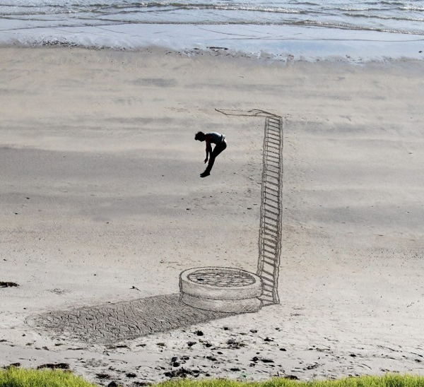 3D illusions sand drawings