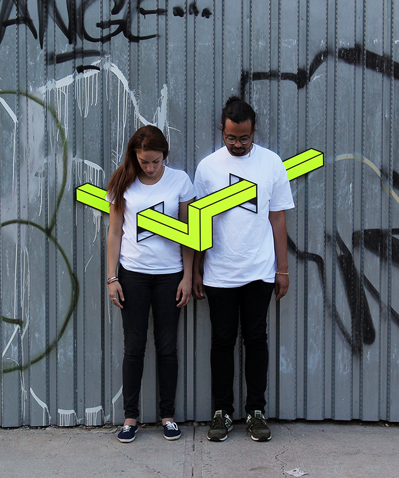 People skewered with geometric shapes