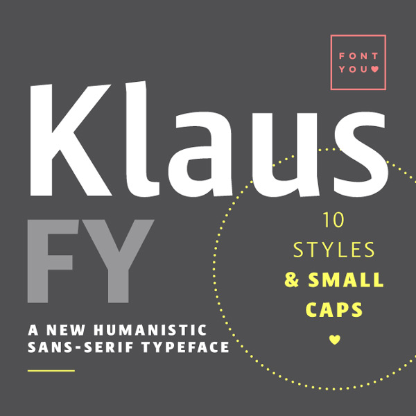 Get the Klaus FY font family for only $27
