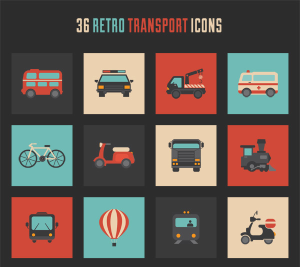Freebie: Retro transport icon set
