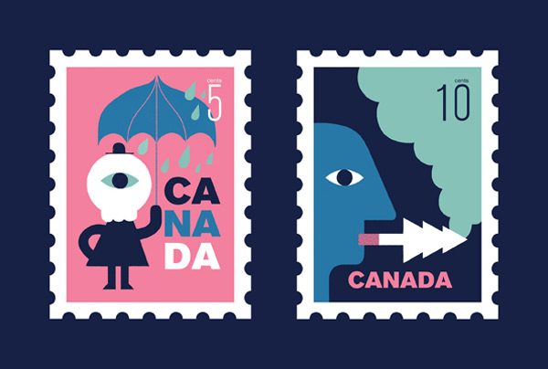 Illustrated stamps about environmental issues