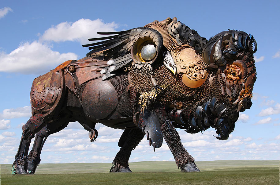 Scrap metal sculptures made of old farm equipment
