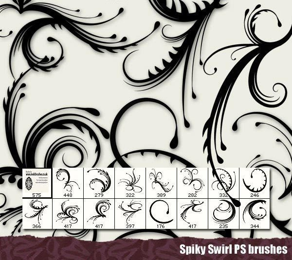 Free-Spiky-Swirl-Photoshop-Brushes