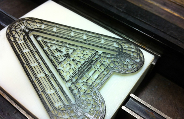 3D printed letterpress font created by London Design Team