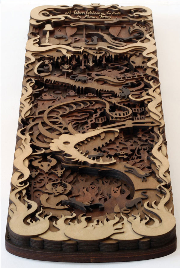 Multi-layered wood laser cut sculptures