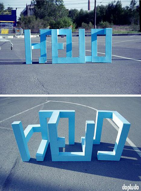 'HELLO' 3D Text Installation