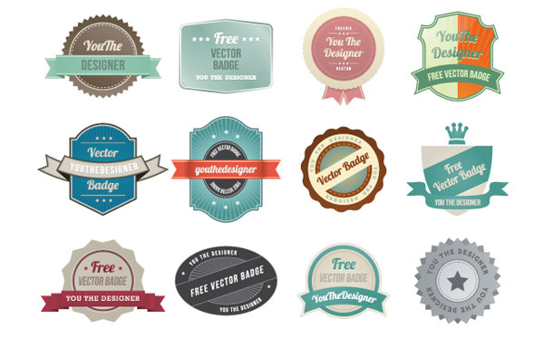 Colorful Vintage Vector Labels