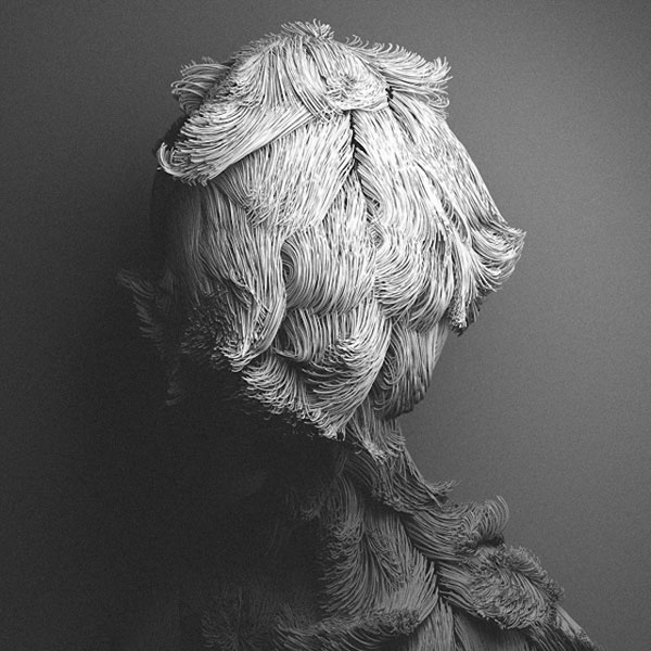 Creepy hairy digital portraits by Can Pekdemir