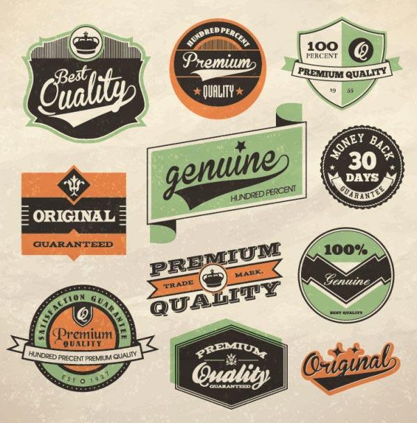 10 free vintage labels and badges packs