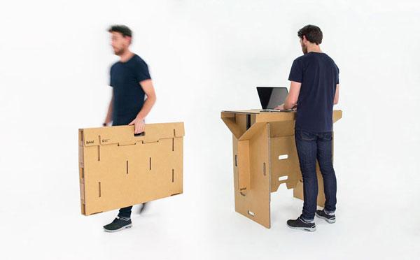 An ingenuous standing cardboard desk