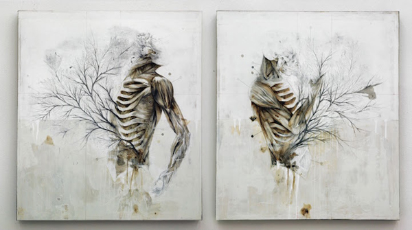 beautiful drawings that combine the human body with nature
