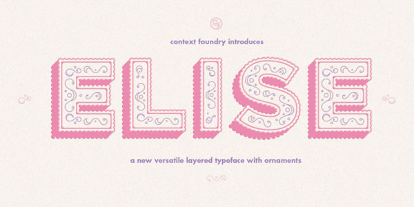 Elise, a layered typeface with extra decoration