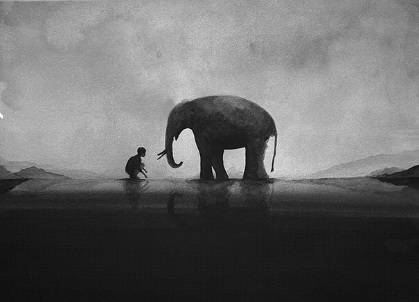 Beautiful black & white watercolors of children with animals