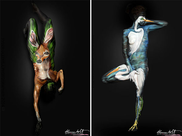 Body paintings that turn the human body into animal wildlife