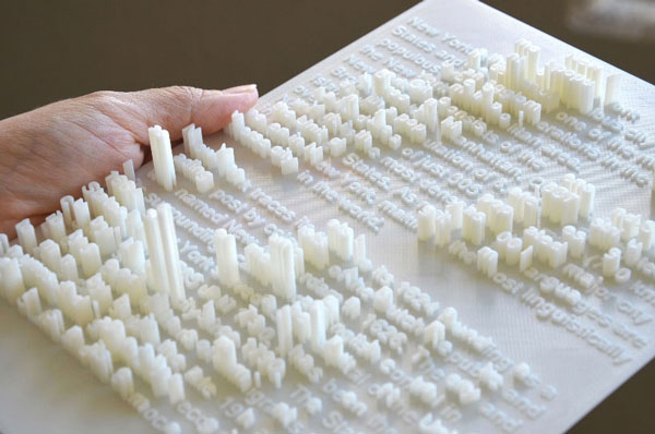 Cityscapes extruded from 3D printed texts