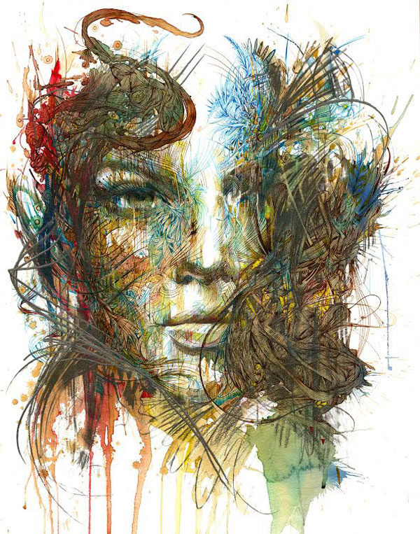 Carne Griffiths creates spectacular paintings with ink and tea