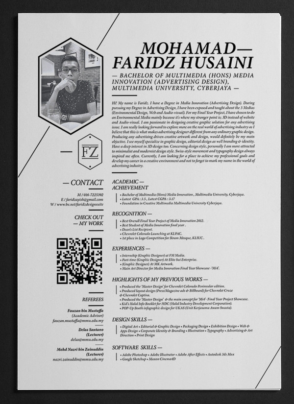 Mohamad Faridz  Beautiful Resume Designs