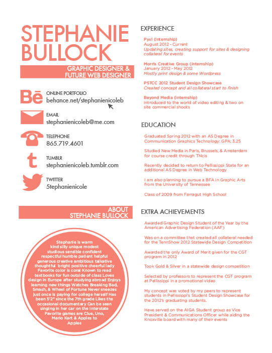 Stephanie Bullock  Beautiful Resume Designs