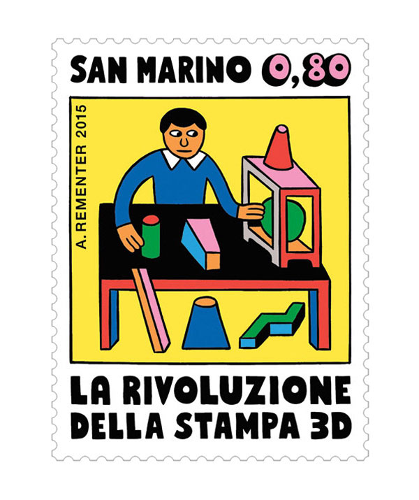 Cool illustrated stamps inspired by 3D printing