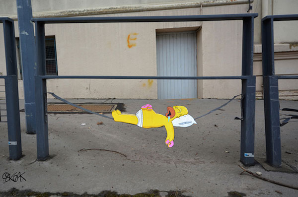 OakOak's street art tribute to the Simpsons co-creator