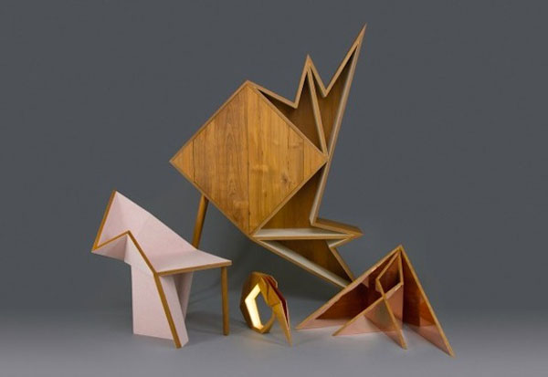 Wooden furniture that ressembles origami