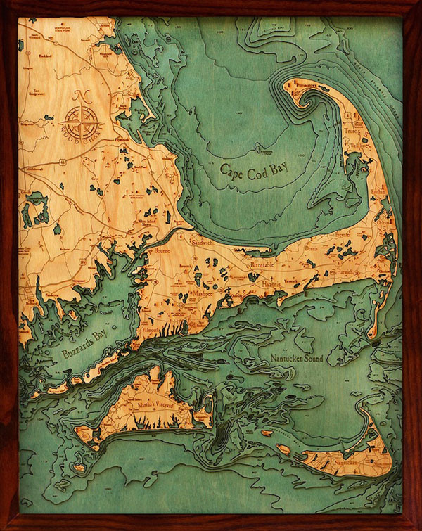 Hidden underwater world revealed with 3D laser cut wood maps