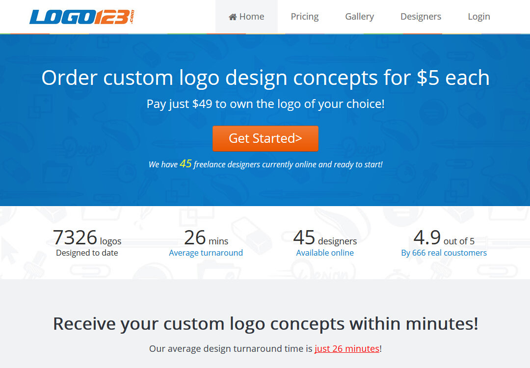 Free custom logo concepts giveaway from logo123.com