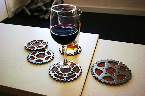 Bicycle gear cog coasters