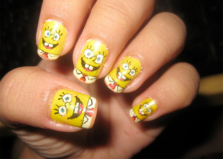10 examples of amazing nail art spongebob nails prinsesfo Image collections