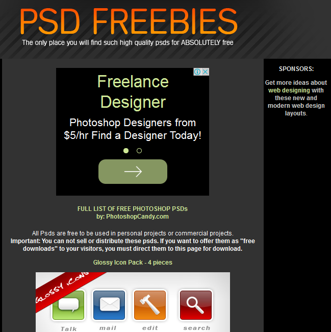 10 websites for designers to get free PSD templates