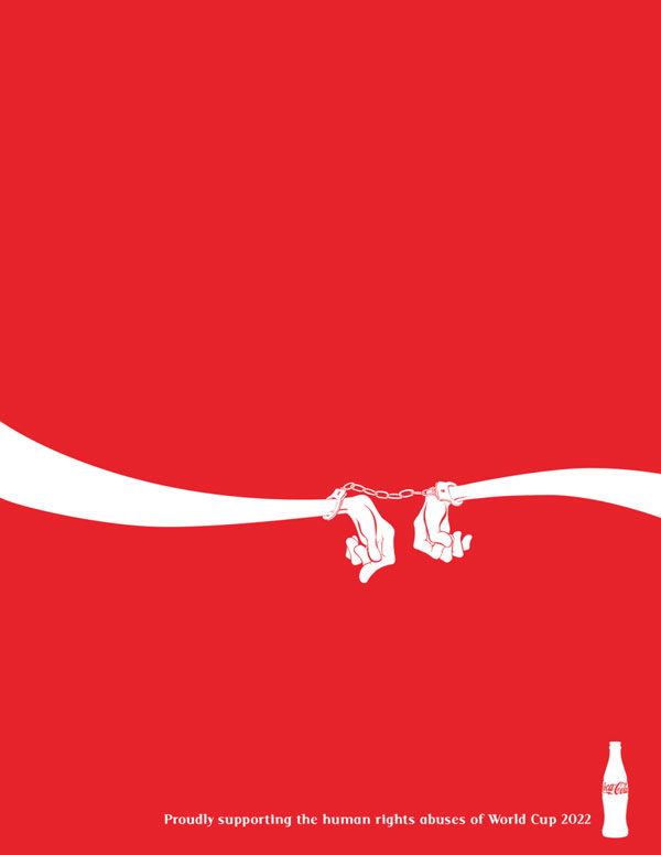 Anti-logos created to pressure the sponsors of the world cup in Quatar