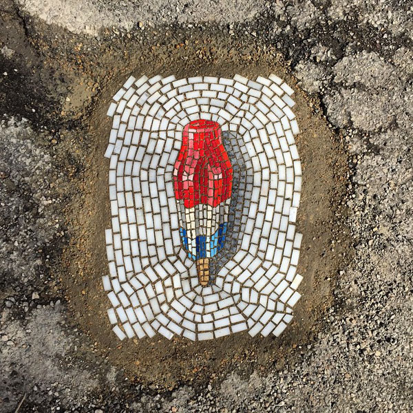 Jim Bachor fixes Chicago's potholes with mosaics of ice-creams