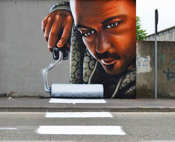 Playful and interactive street art by Caiffa Cosimo