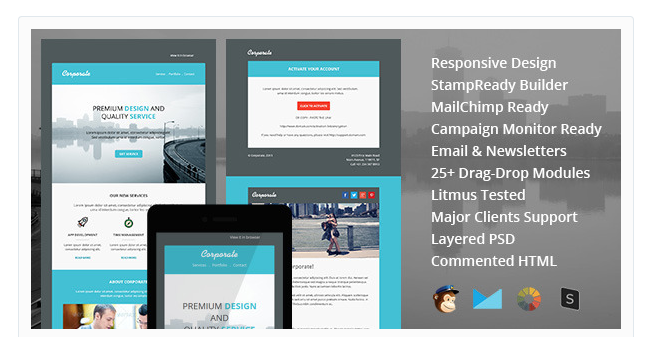 15 Responsive Email Newsletter Templates Designer Daily graphic – Corporate Newsletter Template