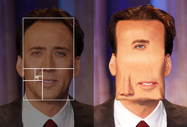 Celebrities portraits photoshopped to respect the golden ratio
