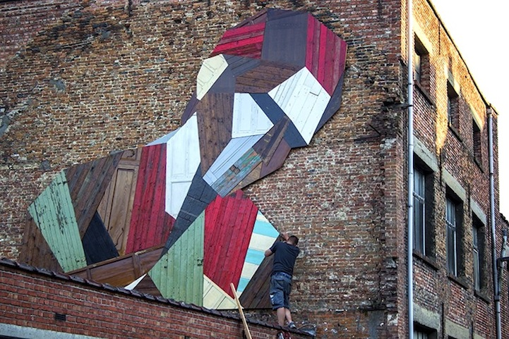 Street art created with… old doors