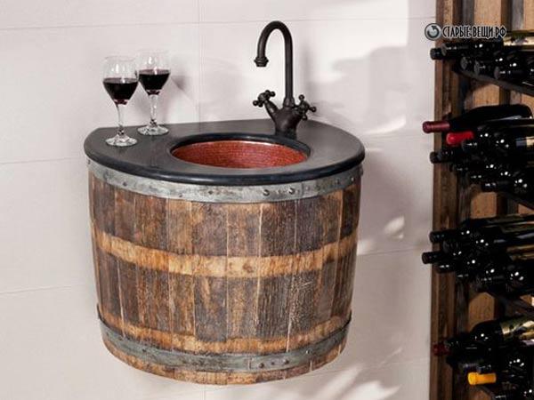Wine barrel sink