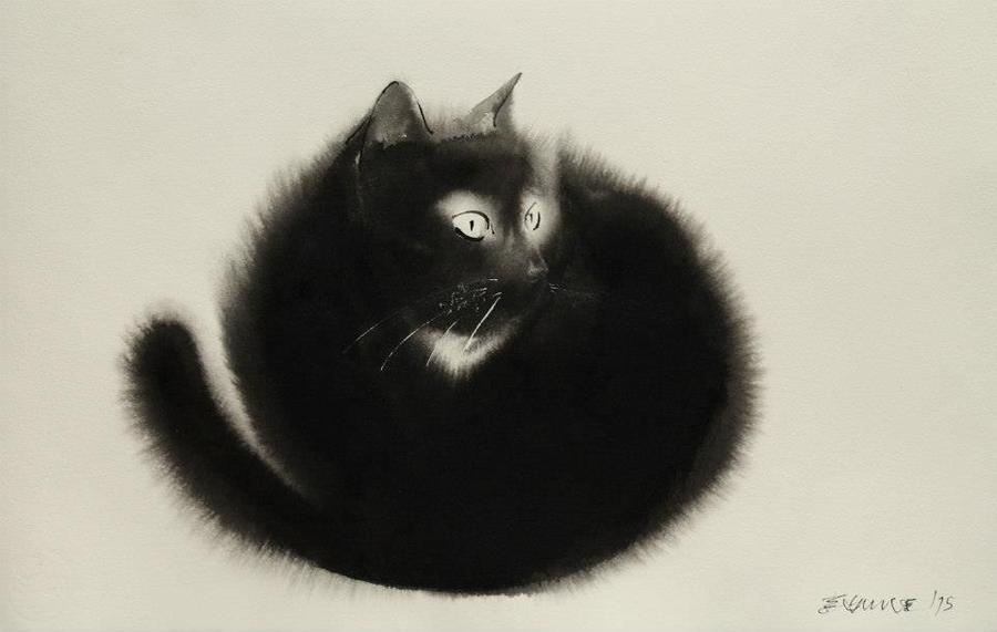 Watercolor cats in black & white