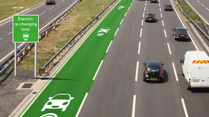 Roads that charge electric cars will be tested in the UK soon