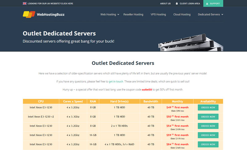 Get your dedicated server for half-price at WebHostingBuzz