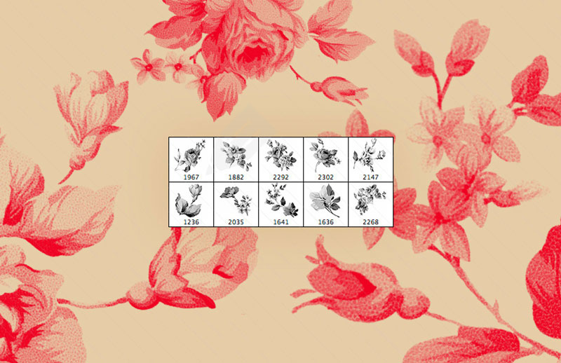 10 free Photoshop brushes of flowers and trees
