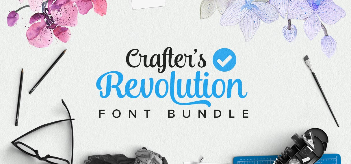The crafter's revolution font bundle, 40 fonts for only $29