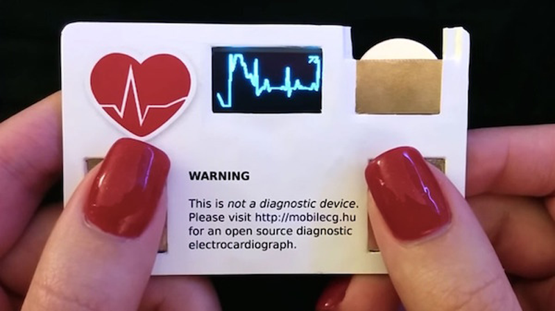 A business card that can measure your pulse rate