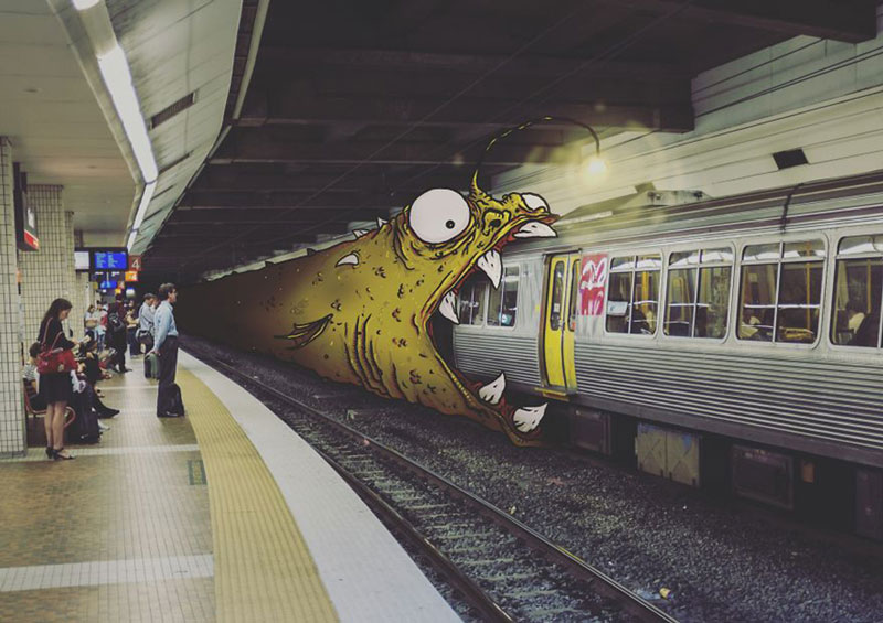 Lucas Levitan draws monsters into photos