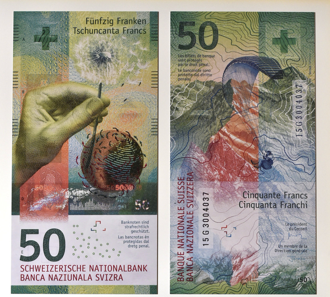 The Swiss National Bank unveils a new 50 francs bill