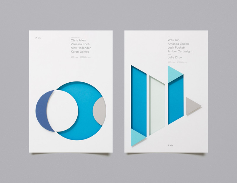 Paper-cutted abstract posters by Moniker
