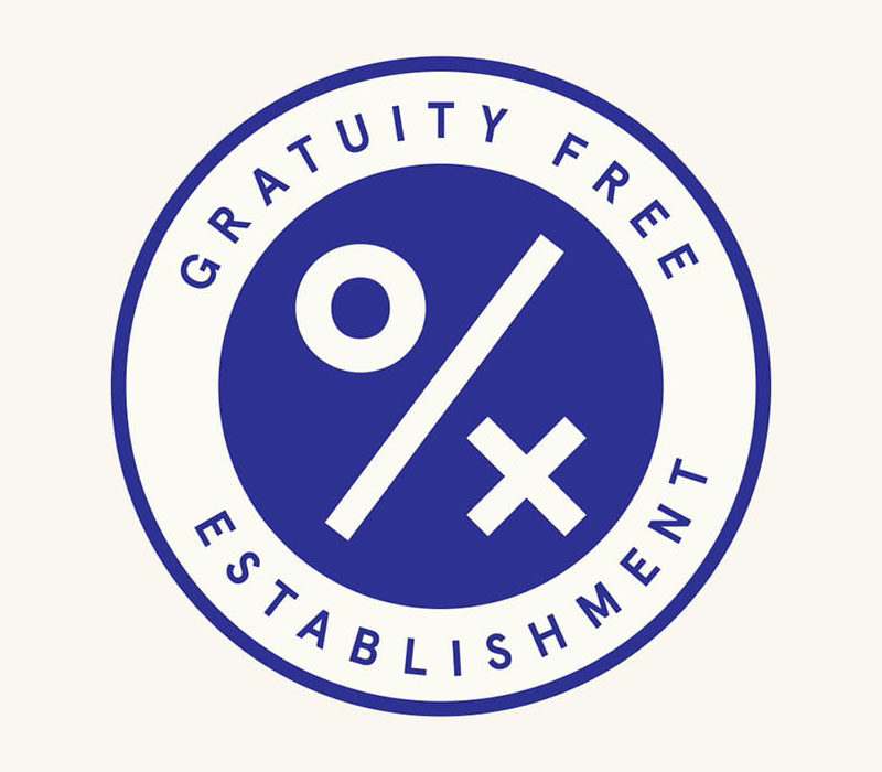 A logo for gratuity free restaurants