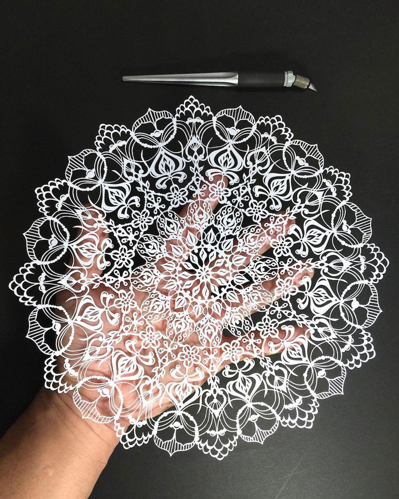 The impressive mandala-style paper cutting of Mr Riu